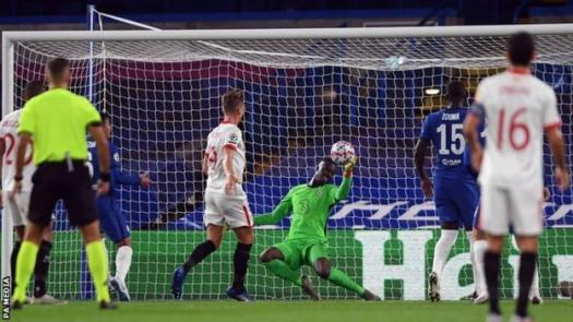 Chelsea keeper Edouard Mendy makes a save during his side's Champions League goalless stalemate with Sevilla