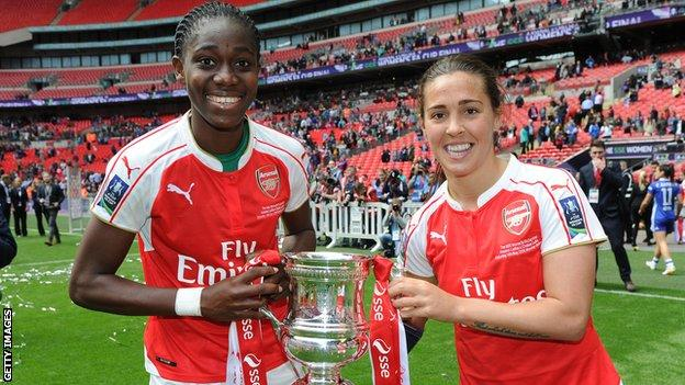 Asisat Oshoala won the FA Cup in 2016 with Arsenal, pictured here with Fara Williams (right)