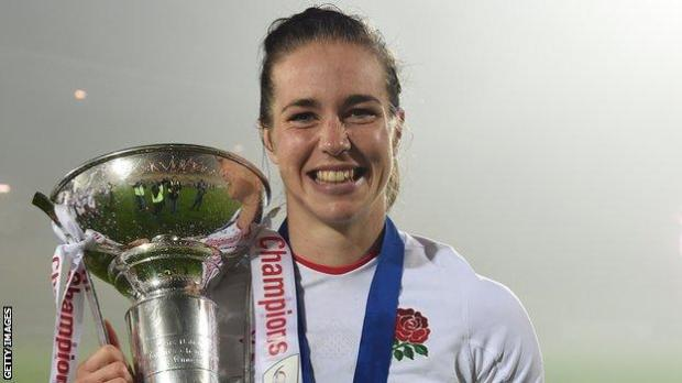 Emily Scarratt with the Women's Six Nations trophy