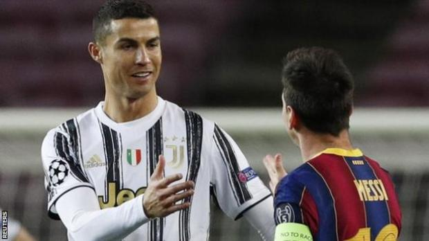 Cristiano Ronaldo and Lionel Messi greet one another before Barcelona's Champions League match with Juventus