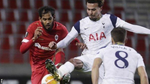 Tottenham's Dele Alli (right) in action during his side's Europa League defeat to Royal Antwerp before he was replaced at the start of the second half