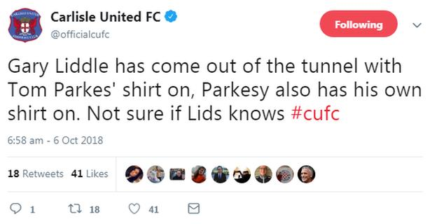 Carlisle United tweet.