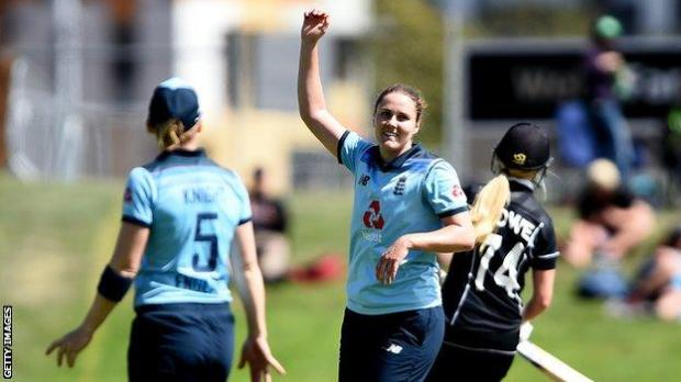 England all-rounder Nat Sciver celebrates taking a wicket against New Zealand in the second ODI