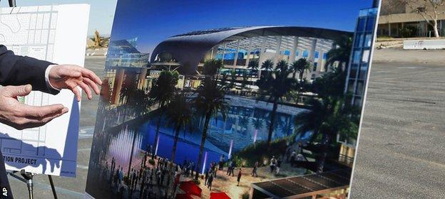 An image of what the new LA stadium in Inglewood might look like
