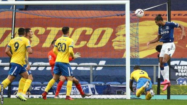 Dominic Calvert-Lewin heads in Everton's opener against Brighton