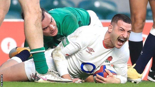 Jonny May scores England's first try v Ireland
