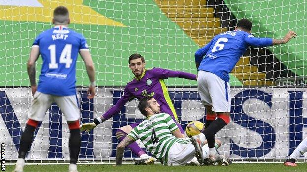 Connor Goldson side-footed home his second to secure victory for Rangers