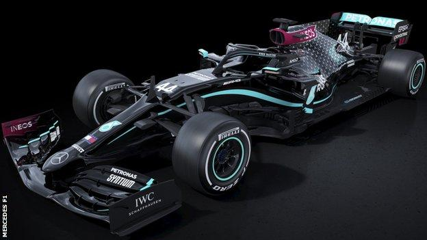 sport The Mercedes F1 car in black livery for the 2020 season