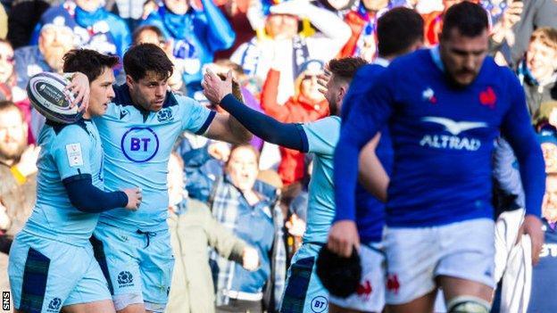 Scotland celebrate against France
