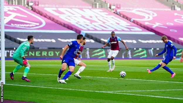Timo Werner scores for Chelsea against West Ham in the Premier League