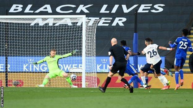 Manchester City's Riyad Mahrez is denied by Leicester keeper Kasper Schmeichel