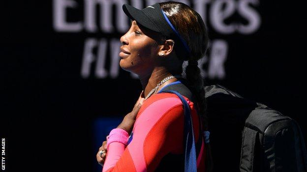 Serena Williams acknowledges the crowd
