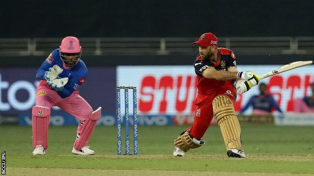 Royal Challengers Bangalore's Glenn Maxwell plays a shot against Rajathan Royals in the Indian Premier League