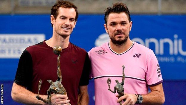 Andy Murray and Stan Wawrinka after their European Open final