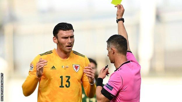 Kieffer Moore's booking in Dublin means the striker is suspended for Wales' next game in Bulgaria