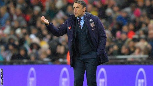 Phil Neville in the England-Germany game last year