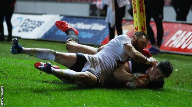 Gloucester wing Louis Rees-Zammit scores his first try for Wales