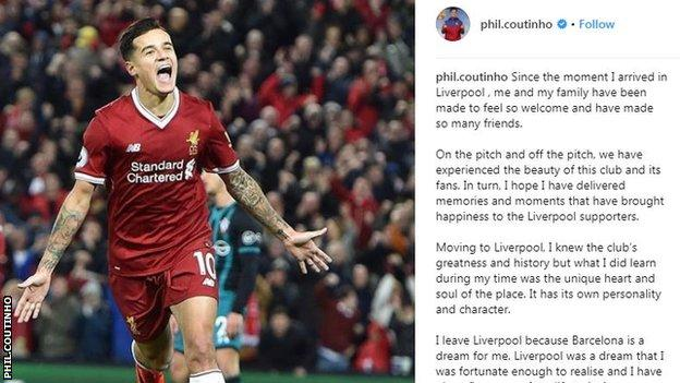 Philippe Coutinho Instagram post