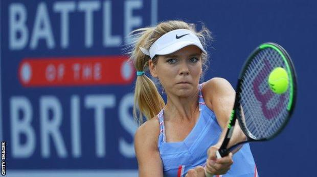 Katie Boulter playing at the Battle of the Brits event in July