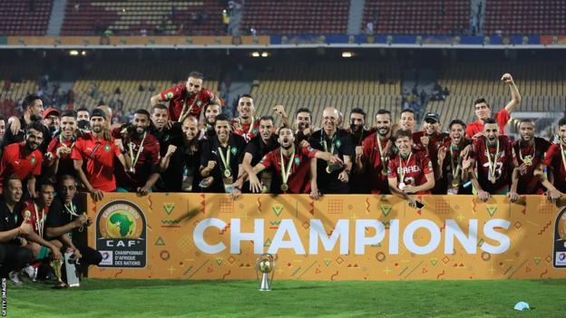 Morocco celebrate winning the 2020 African Nations Championship in Cameroon