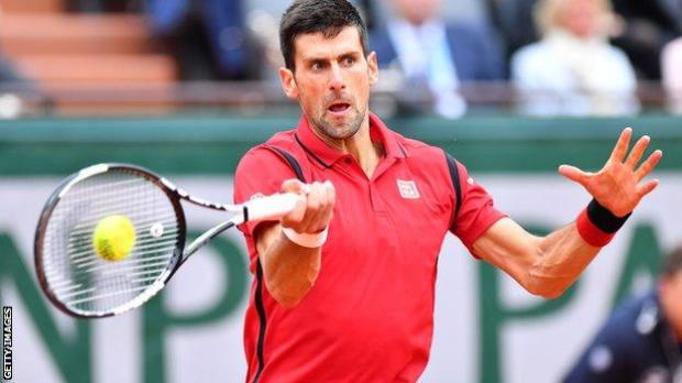 Action shot of Novak Djokovic