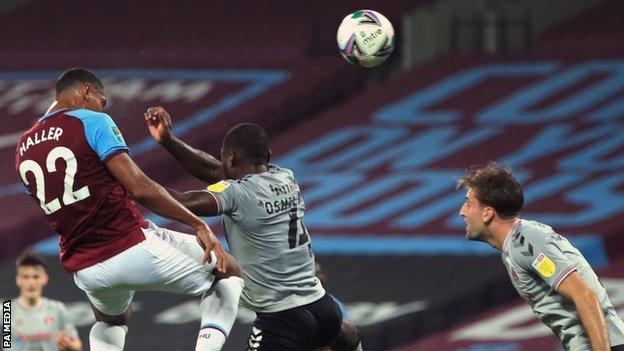 Sebastien Haller scores his second goal for West Ham