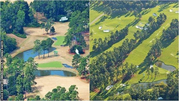 The team at Eureka Earth captured these images 10 days apart to show how the turf at Augusta National was progressing. The picture on the left was taken on 25 September, 50 days before the start of the Masters.