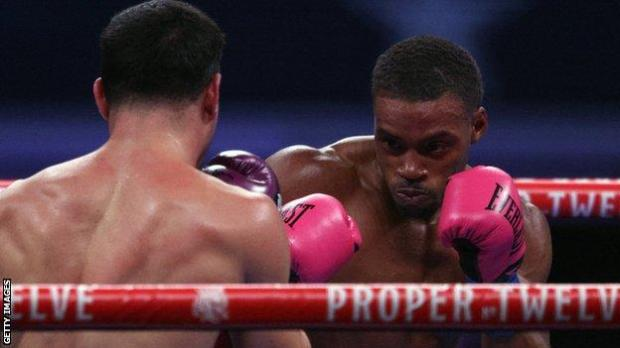 Errol Spence Jr lands a jab on Danny Garcia in their welterweight bout in Dallas, Texas