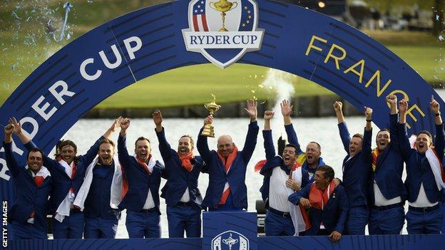 Europe celebrate winningRyder Cup