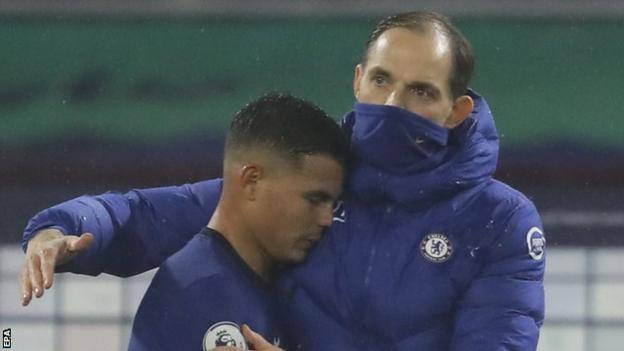 New Chelsea boss Thomas Tuchel hugs defender Thiago Silva at the end of the team's goalless draw with Wolverhampton Wanderers in the Premier League