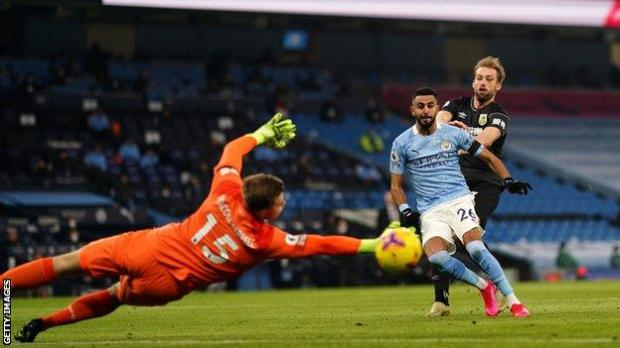 Royad Mahrez scores for Manchester City against