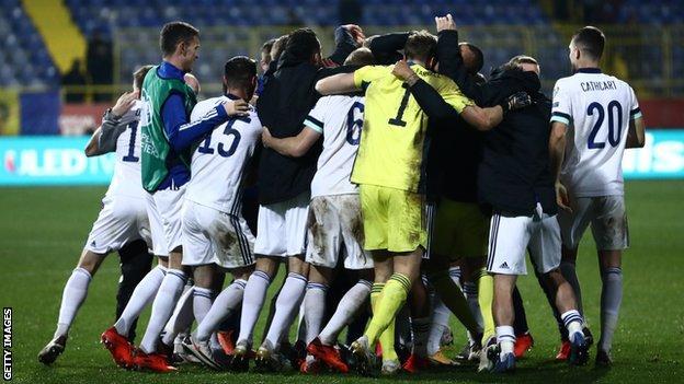 Northern Ireland players celebrate
