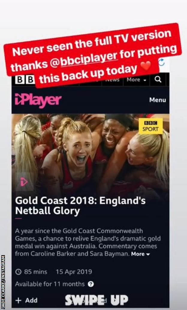Jade Clarke directing people towards the re-run of the match on BBC iPlayer