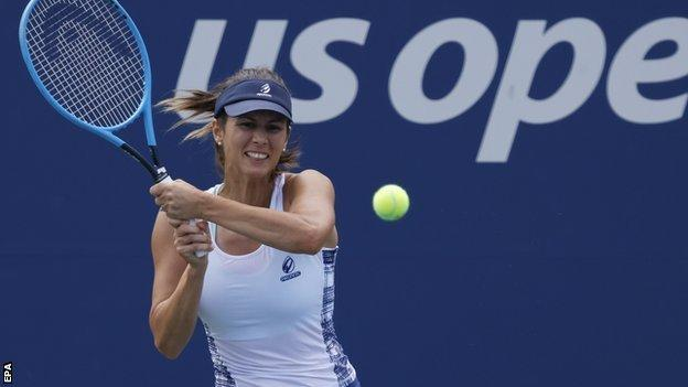 Tsvetana Pironkova returns at the 2020 US Open