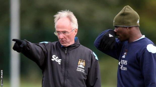 Micah Richards with City boss Sven-Goran Eriksson