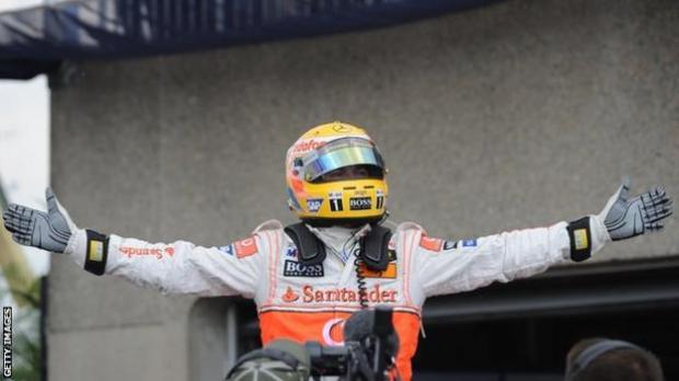 Lewis Hamilton celebrates pole in Canada 2008
