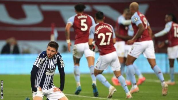 West Brom's Okay Yokuslu reacts after Aston Villa score a late equaliser