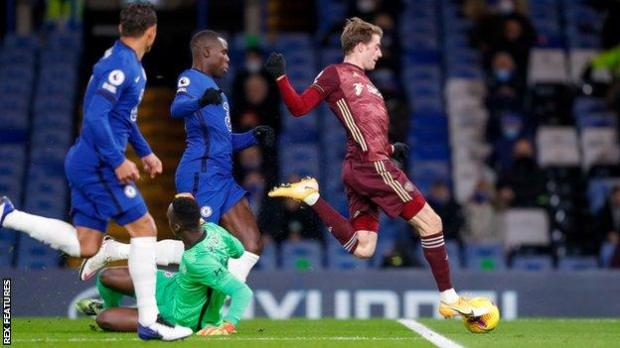 Patrick Bamford scores for Leeds against Chelsea at Stamford Bridge