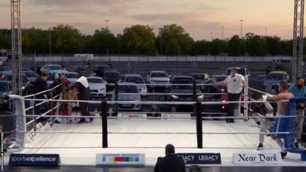 A drive-in boxing event in Dusseldorf, Germany