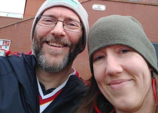Matthew Spillum and wife Reene at Anfield