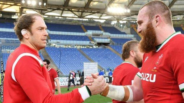 Alun Wyn Jones and his second half replacement Jake Ball, who won his 50th cap, celebrate after the final whistle