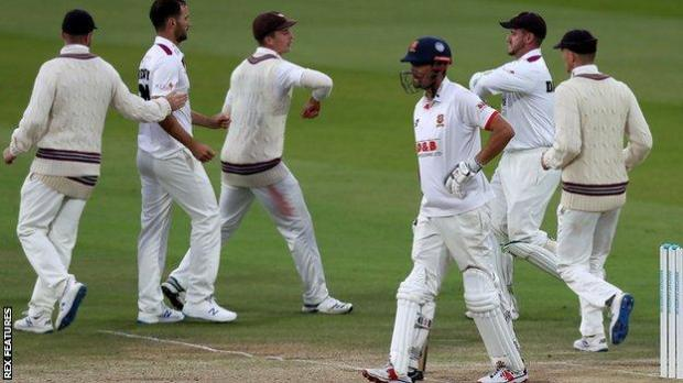 Lewis Gregory has Alastair Cook caught behind for 31