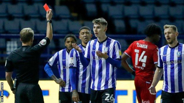 Liam Shaw's red card for Sheffield Wednesday was the first of his senior career