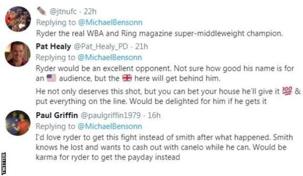 Boxing fans on Twitter saying they'd like to see John Ryder get his short at Saul 'Canelo' Alvarez. One fan says the British will get behind him if he does fight the Mexican