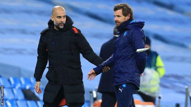 Andre Villas-Boas, pictured with Manchester City boss, Pep Guardiola,