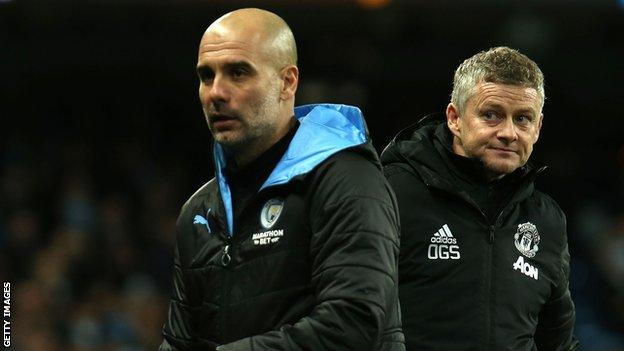 Manchester United boss Ole Gunnar Solskjaer and Manchester City manager Pep Guardiola