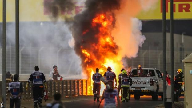 Romain Grosjean's car on fire