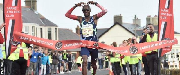 Mo Farah dominated the Antrim Coast Half Marathon on Saturday