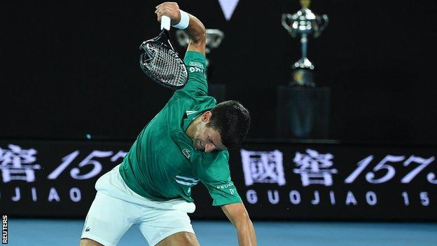 Novak Djokovic smashed his racquet as he trailed in the third set