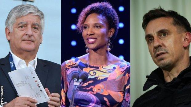 David Bernstein, Denise Lewis and Gary Neville